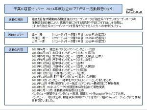 2013年CIMCアカデミー活動報告